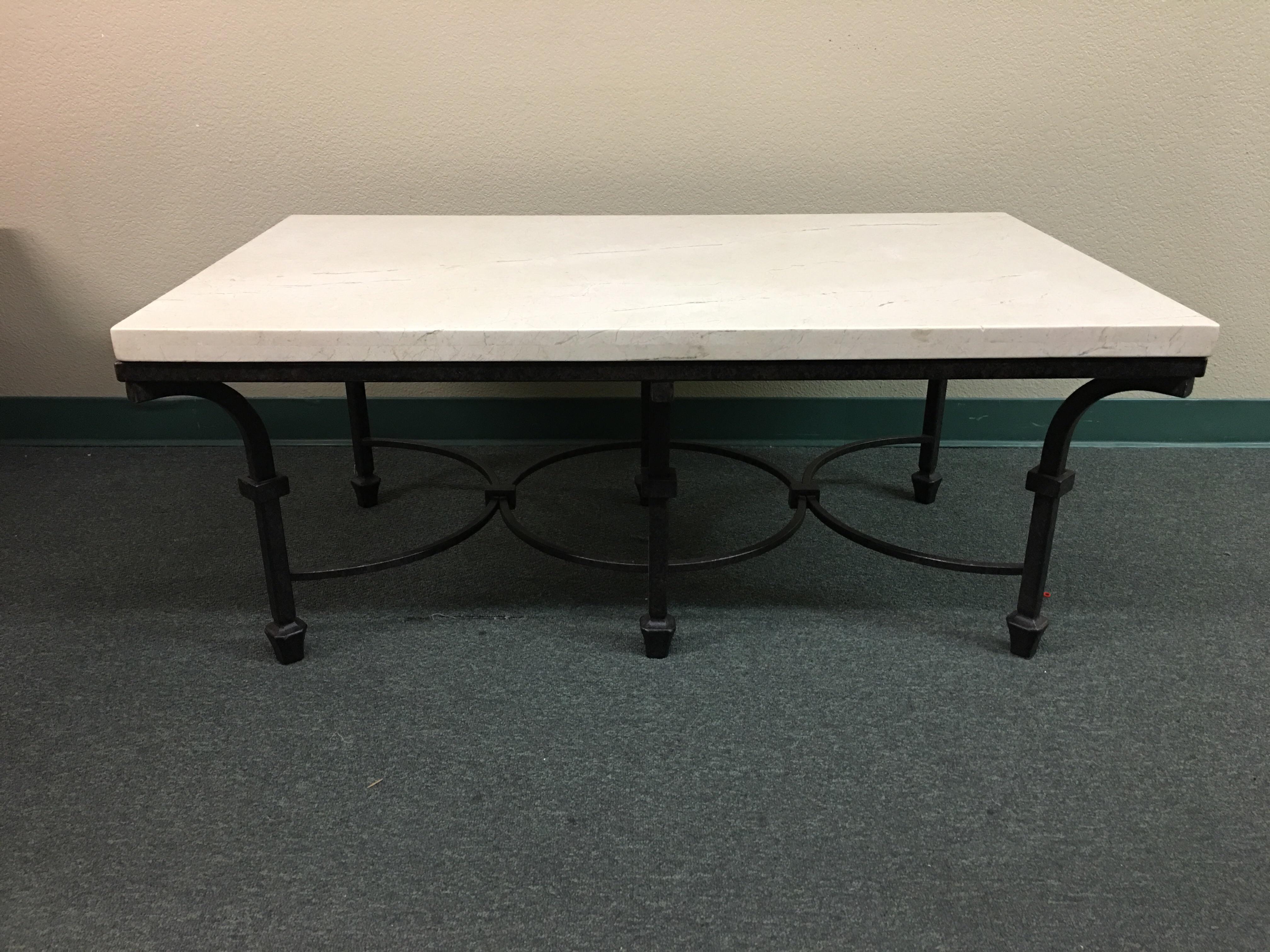 Kolkka Furniture Wrought Iron & Marble Coffee Table