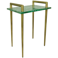Malachite Stone & Metal Handle Side Table