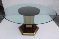 Mastercraft Vintage Burl Wood & Brass Dining Table | Chairish