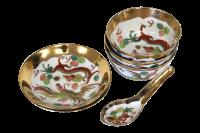 Chinese Porcelain Soup Bowl Set - 6 Pieces | Chairish