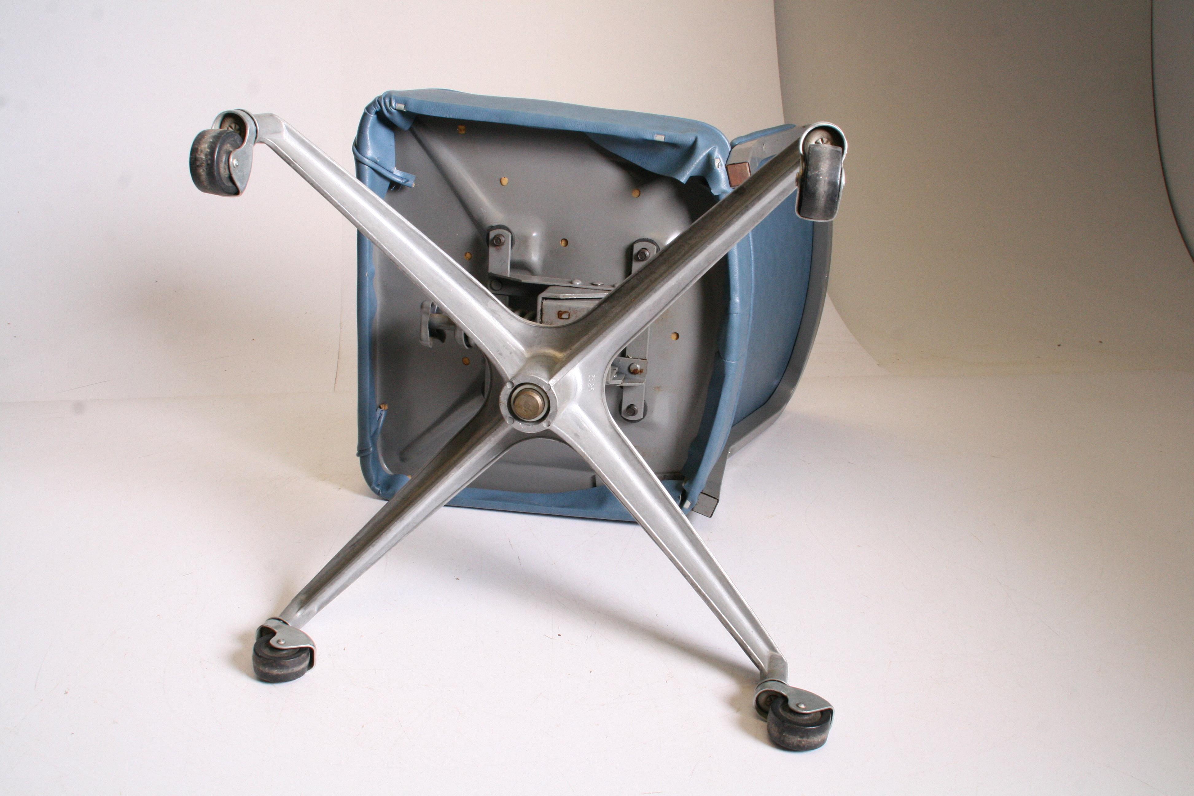 Mid Century Modern Blue Vinyl Swivel Office Chair