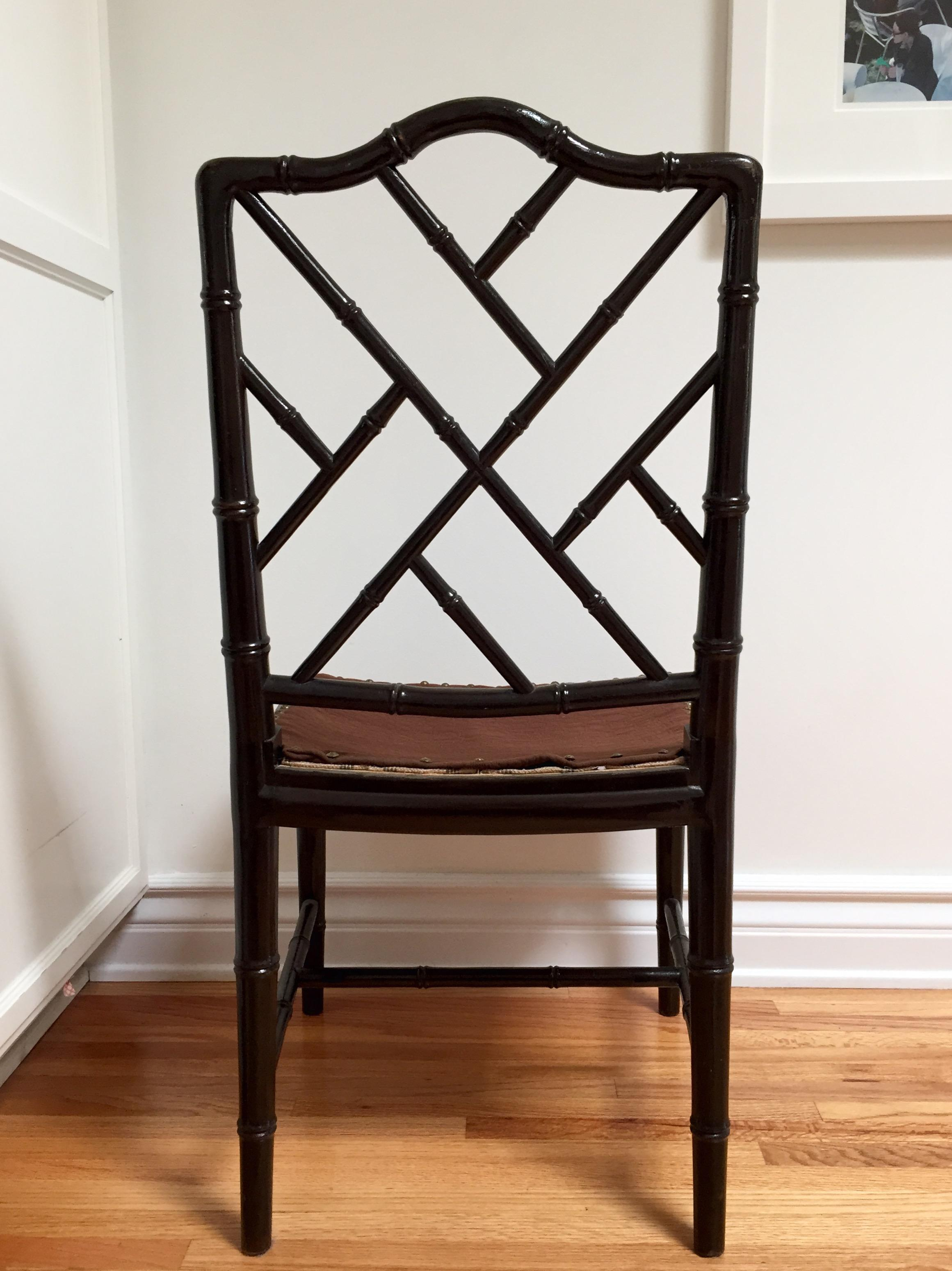 Faux Bamboo Chinese Chippendale Chairs  A Pair  Chairish