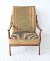 Vintage Mid Century Striped High Back Lounge Chair | Chairish