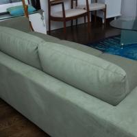 Seafoam Ultrasuede Modern Italian Sofa | Chairish