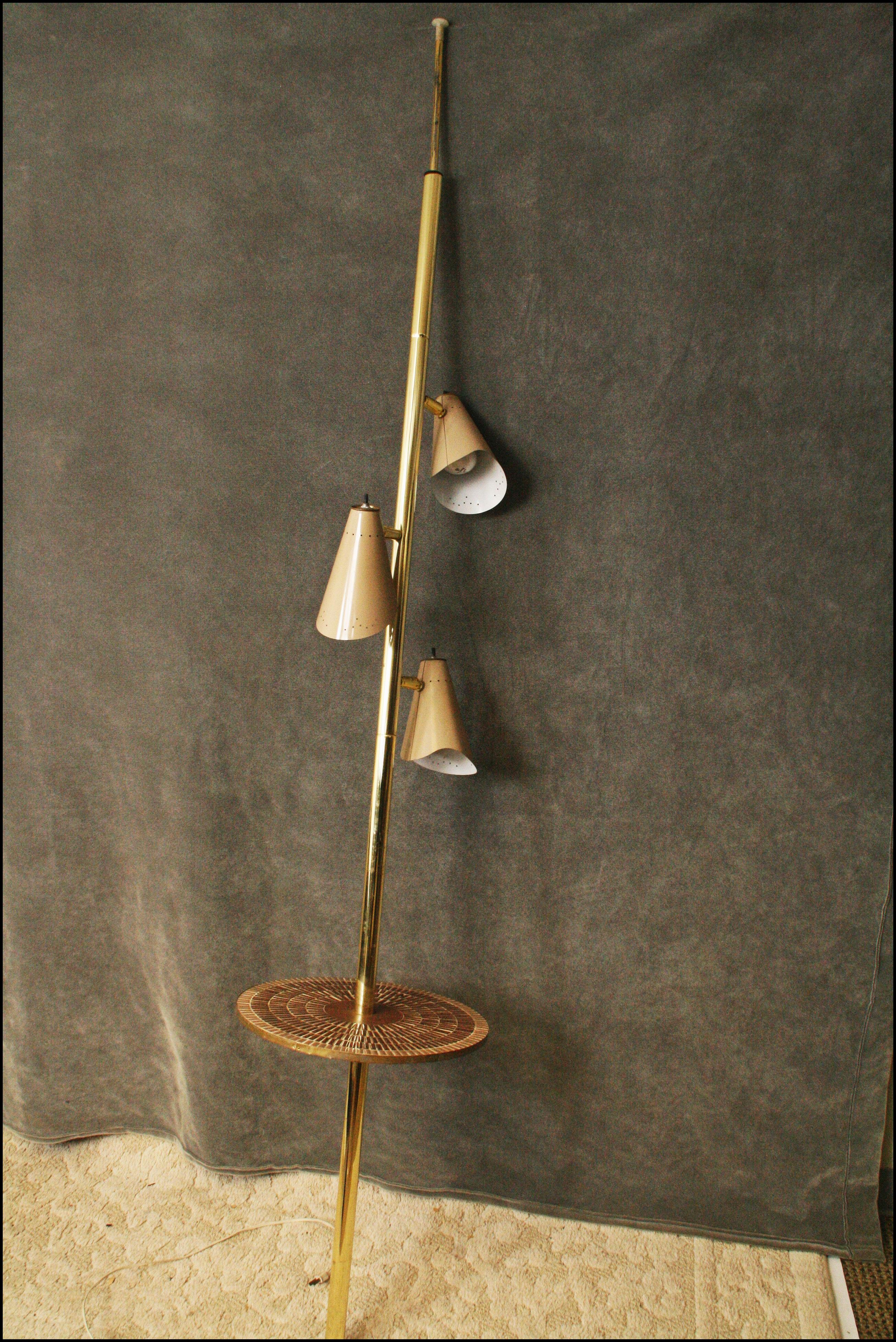 Mid Century Modern Tension Pole Lamp with Tile Top Table