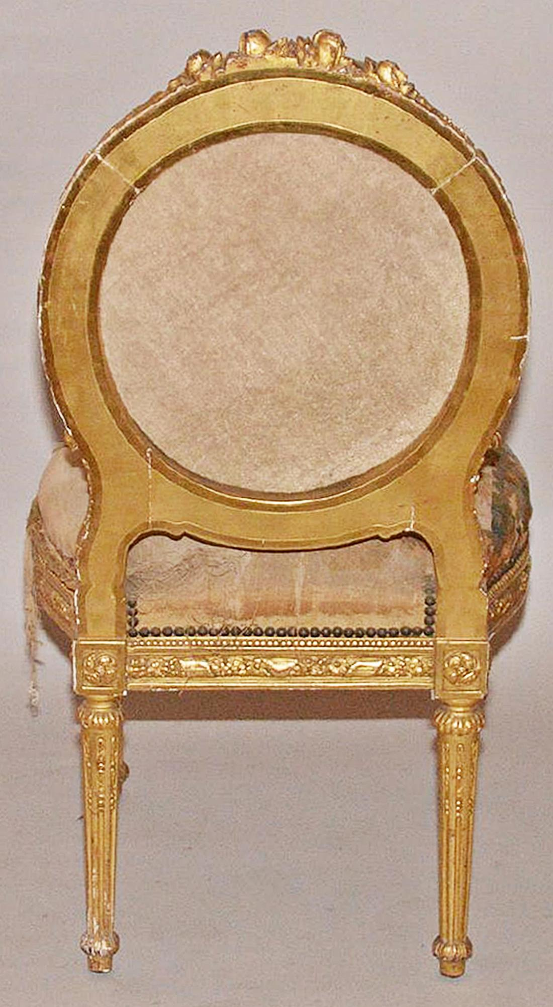 Antique French Gilt Vanity Chair