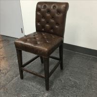 Restoration Hardware Bennet Leather Stool | Chairish