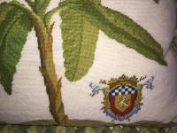 High End Banana Tree Needlepoint Pillow | Chairish