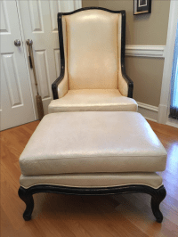 Creme Patterned Leather Chair & Ottoman | Chairish