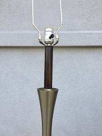 Mid-Century Wood and Brass Table Lamp   Chairish