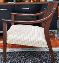 Mid-Century Wooden Armchair with Caning and Upholstered ...