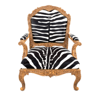 French Louis XV Zebra Print Chair   Chairish