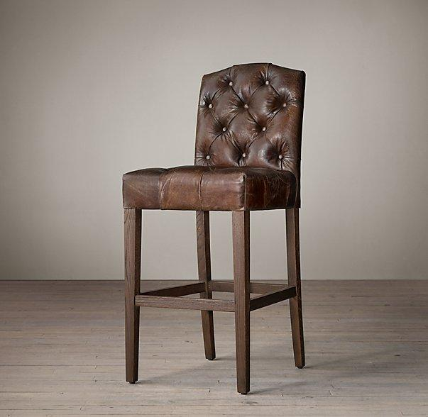 Restoration Hardware Leather Bar Stool
