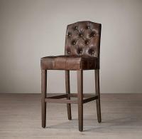 Restoration Hardware Leather Bar Stool | Chairish