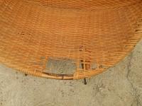 Black Iron & Wicker Atomic Saucer Disc Chair | Chairish