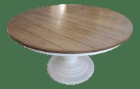 Wood Top & White Pedestal Base Round Kitchen Table | Chairish