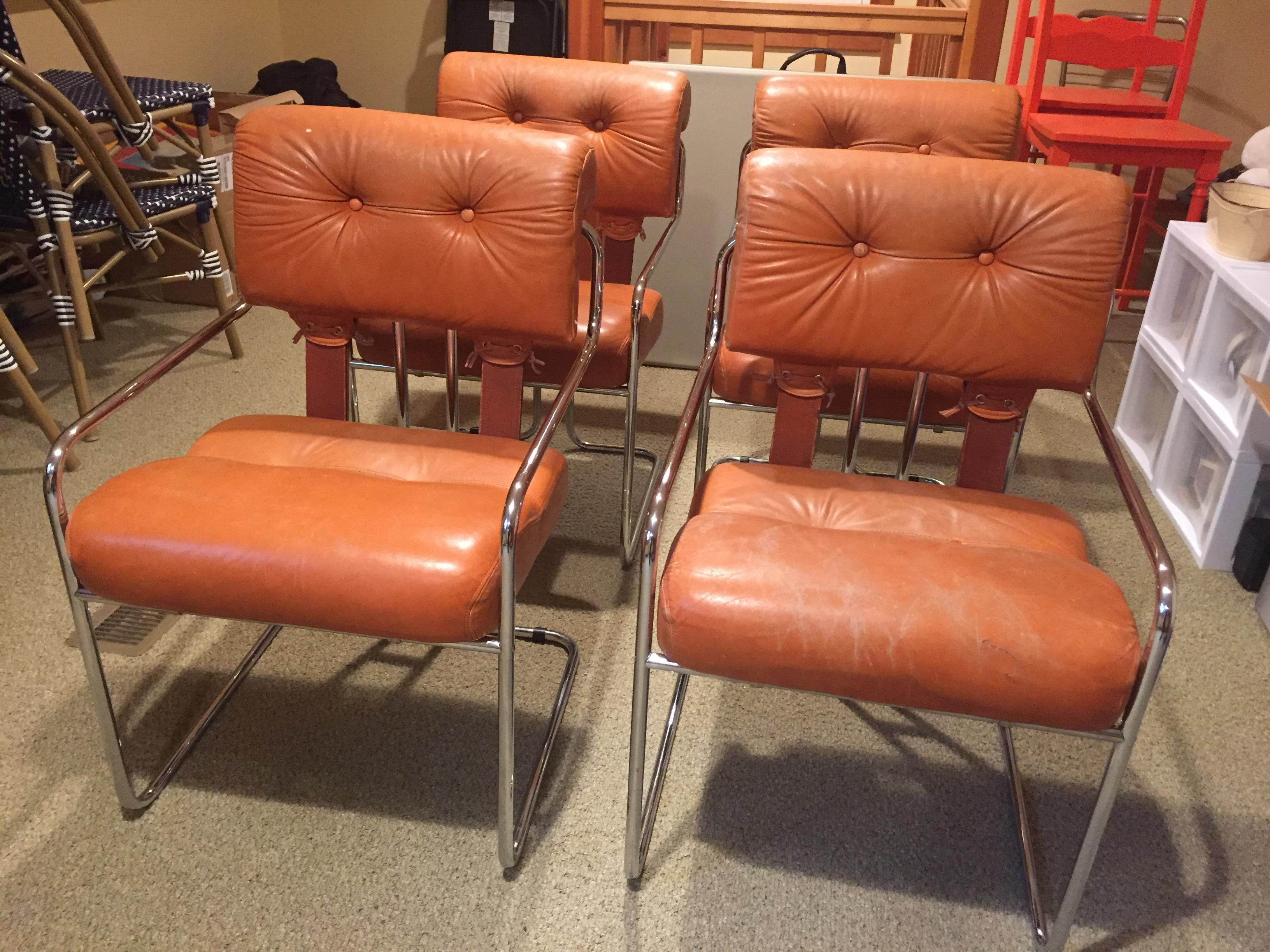 Burnt Orange Tucroma Leather and Chrome Dining Chairs in