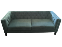 Tufted Teal Velvet Sofa