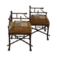 Iron Base Faux Bamboo Tete-A-Tete Chair | Chairish