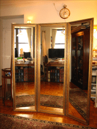 3-Panel Custom Gold Gilded Mirror | Chairish