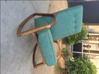 Mid Century Teal Sculptural Custom Rocking Chair | Chairish