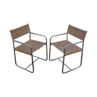 Mid Century Modern Tubular Frame Arm Chairs - Pair | Chairish