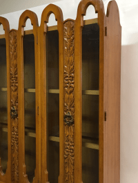 Art Deco Mid Century Wood Carved Display China Cabinet ...