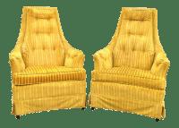 Yellow Velvet Lounge Chairs - A Pair | Chairish