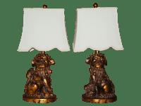 Foo Dog Lamps with Custom Shades - Pair | Chairish