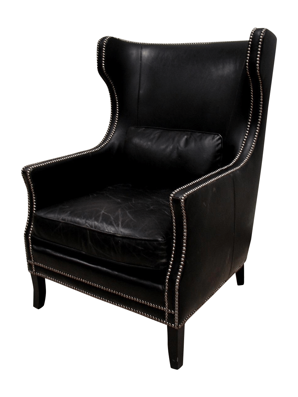 Bernhardt Black Saddle Leather Wingback Chair  Chairish