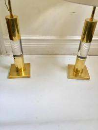 Mid-Century Italian Lucite & Brass Table Lamps - A Pair ...