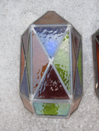 Stained Glass Wall Sconces - A Pair | Chairish