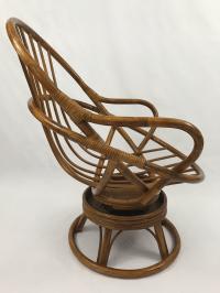 Vintage Rattan Swivel Rocker Lounge Chair