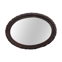 Rustic Vintage Metal Oval Framed Wall Mirror