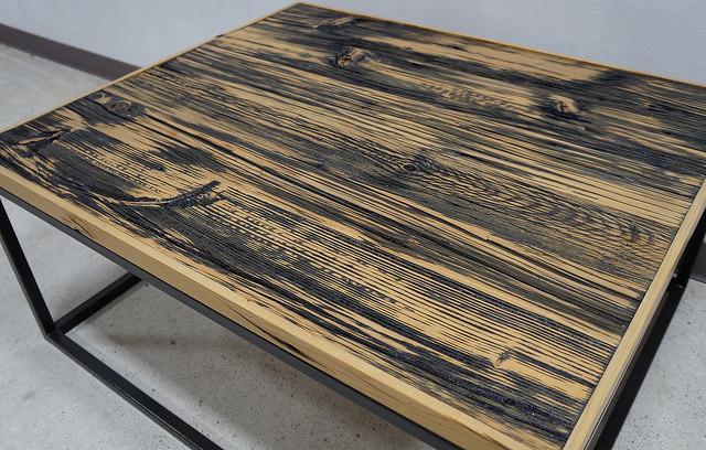 Modern Barnwood Wrought Iron Base Designer Coffee Table
