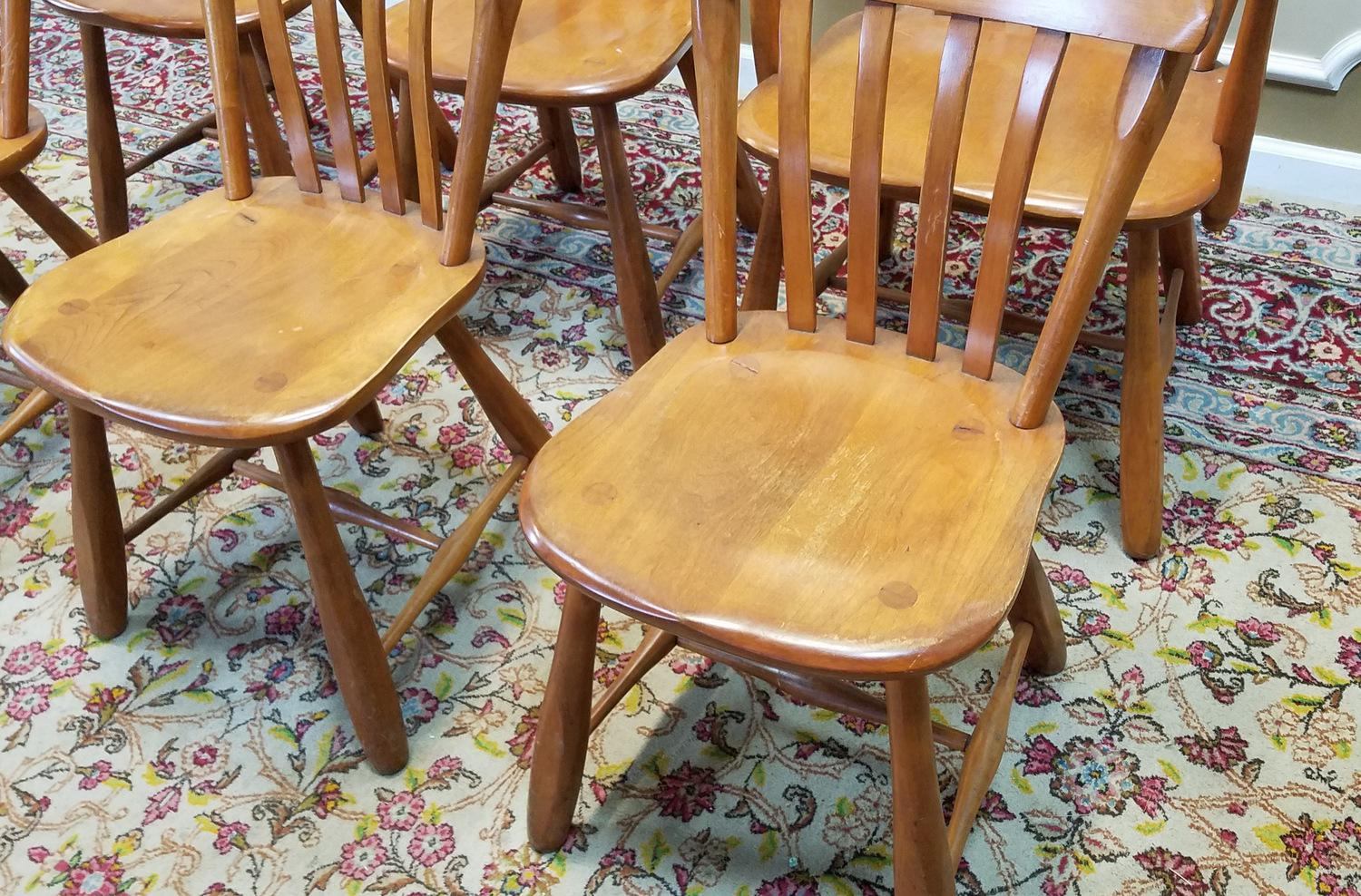 hickory dining room chairs ivory sherpa double hang a round chair 1950s vintage winchendon furniture solid rock maple old meeting house country ...