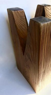 Sculptural Cut Wood Stump Side Table | Chairish