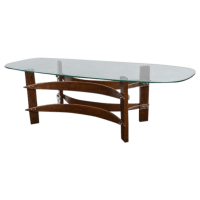 Mid-Century Curved Wood & Lucite Coffee Table | Chairish