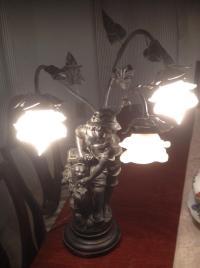 Art Nouveau Francios Moreau Signed Figural Lamp | Chairish
