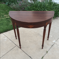 Antique Half Moon Side Table with Detailing | Chairish