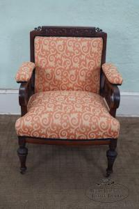 Victorian Carved Chair with Floral Upholstery