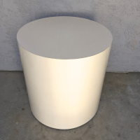 Mid-Century White Drum Pedestal Side Table | Chairish