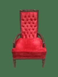 Vintage Red Velvet Throne Chair | Chairish
