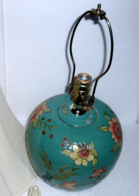 Asian Style Turquoise Ceramic Table Lamp | Chairish