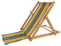 Yellow and Green Vintage Canvas Beach Chair I | Chairish