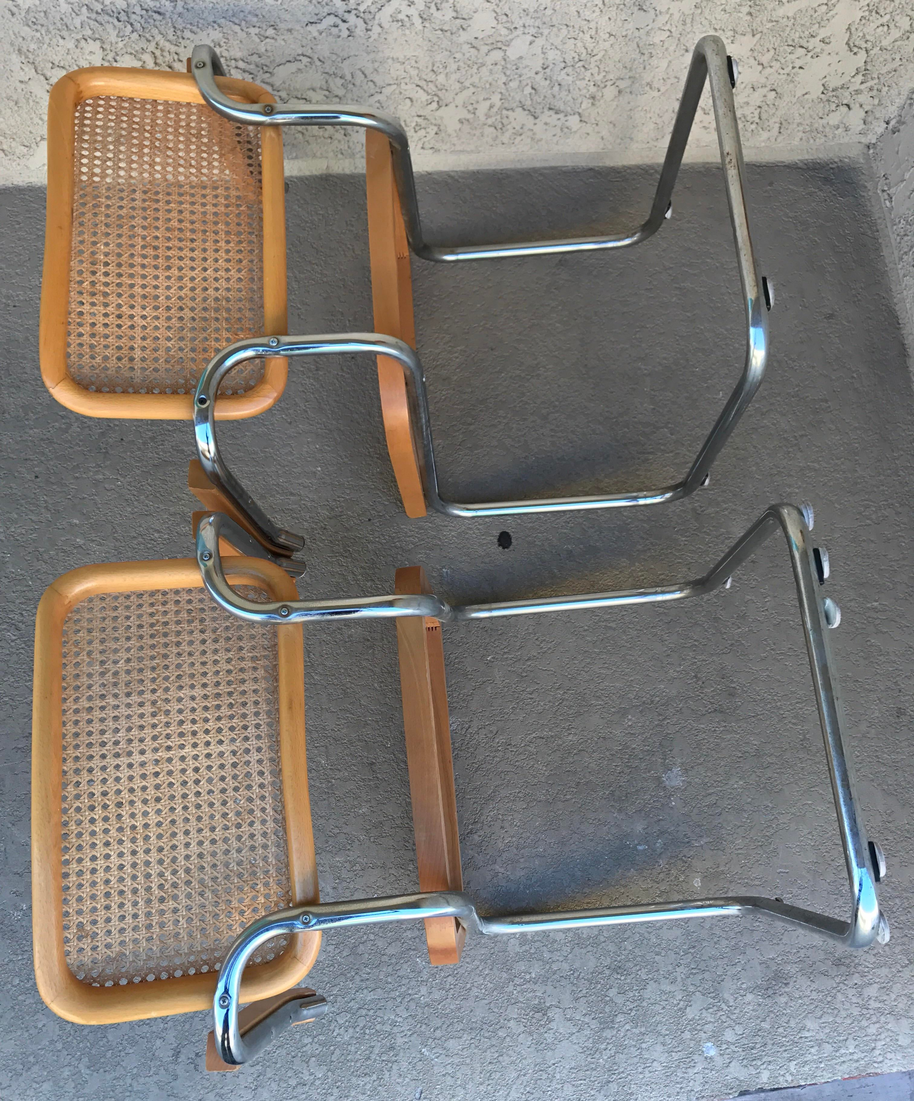 marcel breuer cesca chair with armrests neutral posture parts b64 chairs - a pair | chairish