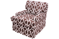 Brown & White Chair With Geometric Chain Pattern | Chairish
