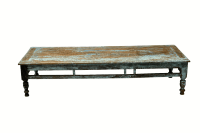 Rustic Low Turquoise Coffee Table | Chairish