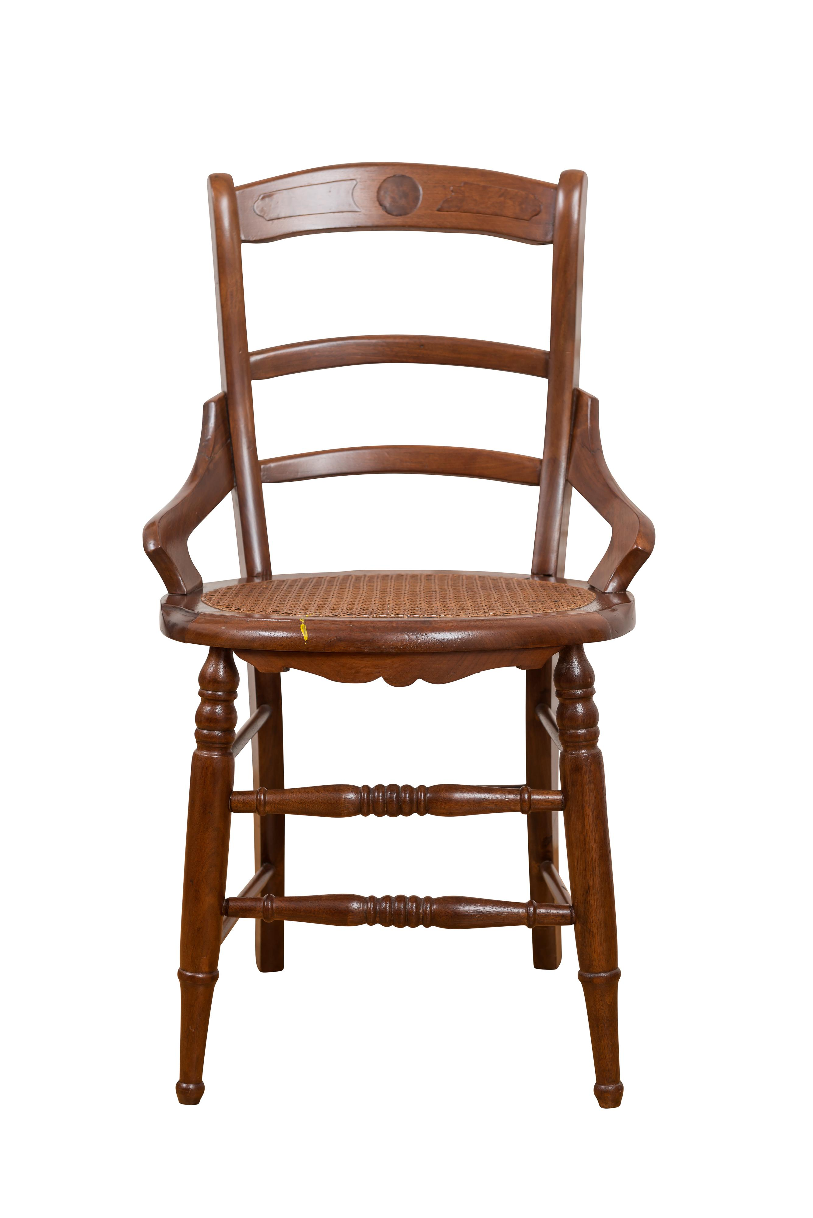 American Antique Ladder Back Cane Accent Chair  Chairish
