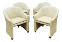 Vintage Mid-Century Modern White Leather Chairs | Chairish